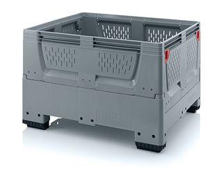 Pallet box opvouwbaar met ventilatiesleuven in bodem en zijkanten 4 poten 120 x 100 x 79 cm