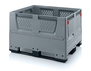 Pallet box opvouwbaar met ventilatiesleuven in bodem en zijkanten 3 sledes 120 x 100 x 79 cm