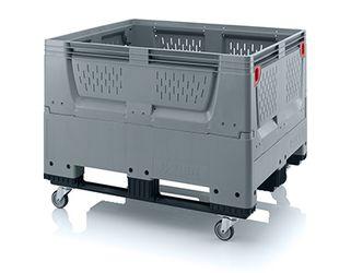 Pallet box opvouwbaar met ventilatiesleuven in bodem en zijkanten 4 wielen en 3 sledes 120 x 100 x 93 cm