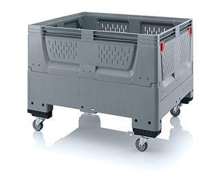 Pallet box opvouwbaar met ventilatiesleuven in bodem en zijkanten 4 wielen 120 x 100 x 93 cm