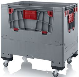 Pallet box opvouwbaar met 4 wielen 120 x 80 x 114 cm