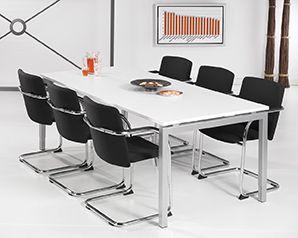 Bureau - vergadertafel aluminium onderstel en wit kleurig blad 200x100cm