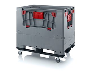 Pallet box opvouwbaar met 4 wielen en 3 sledes 120 x 80 x 114 cm