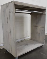 Steigerhouten Kledingrek Verrijdbaar Medium 120x70x135cm