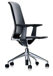 Vitra Bureaustoel Leer Zwart Meda Chair