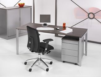 Bureau - vergdertafel aluminium onderstel en antraciet eiken kleurig blad 180x80cm