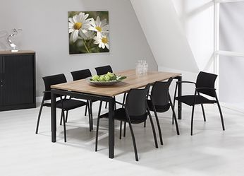 Bureau - vergadertafel zwart onderstel en havanna kleurig blad 200x100cm