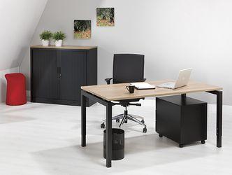Bureau zwart onderstel en havanna kleurig blad 80x80cm