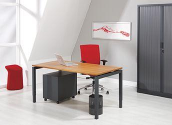Bureau - vergadertafel antraciet onderstel en kersen kleurig blad 140x80cm