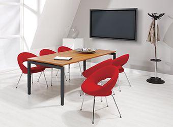 Bureau - vergadertafel antraciet onderstel en kersen kleurig blad 200x100cm