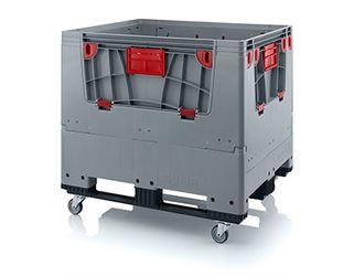 Pallet box opvouwbaar met 4 wielen en 3 sledes 120 x 100 x 114 cm