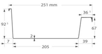 Afmetingen Ubbink polyester dakgoot 205mm