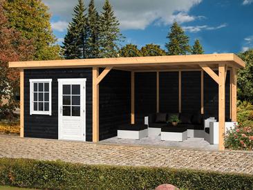 tuinhuisjes kopen houten blokhut tuinhuis met overkapping. Black Bedroom Furniture Sets. Home Design Ideas