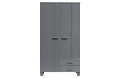 Woood Dennis Kast Met Laden Grenen Steel Grey Geborsteld