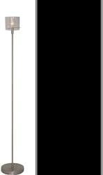 Een stijlvol vloerlampje die wordt uitgevoerd met een klein mat & helder glas en een helder buitenglas. De lamp heeft een vloerdimmer zo heeft u altijd het juiste licht bij de juiste sfeer!  Vloerlamp Chivallo RVS Materiaal: Metaal & Glas  Kleur: RVS  Maten: 160cm Hoogte  Overige maten: Voetplaat 15cm Ø  Lichtbron: 1 x 20Watt G4 12V (incl.)  Dimbaar: Ja  Dimmer: Inbegrepen