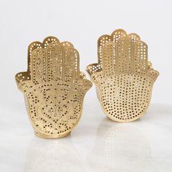 Waxinelicht houder - Hand dubbel goud - Zenza
