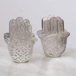 Waxinelicht Houder - Hand dubbel Zilver - Zenza