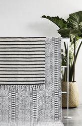 Nordal vloerkleed stripes zwart wit 90 x 60