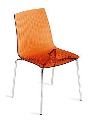 Lunde design keukenstoel transparant oranje met chromen poot