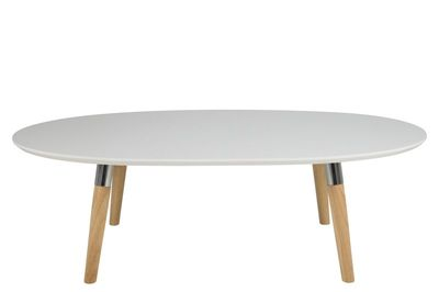 Las ovale salontafel eiken/chroom