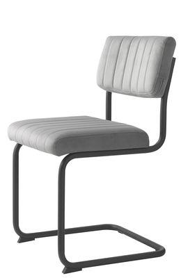 Buisframe stoel Barney velvet stof grijs