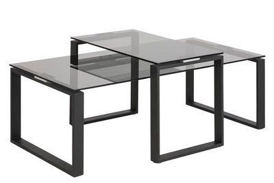 2-delige salontafelset Gandrup met rookglas blad