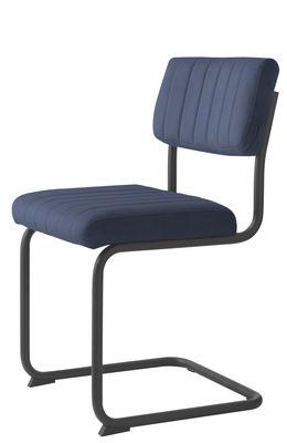 Buisframe stoel Barney velvet stof blauw