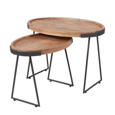 Set van 2 ovale tafels Barth in massief acacia hout