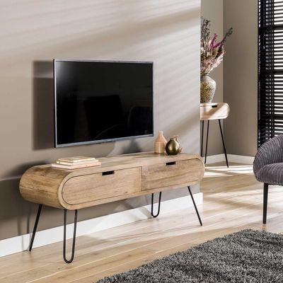 TV meubel Bernau in massief mango hout met 2 laden