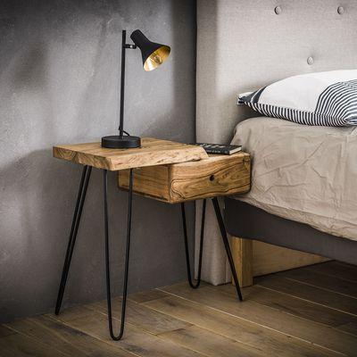 Side table/nachtkastje Ahaus-L in  massief acacia