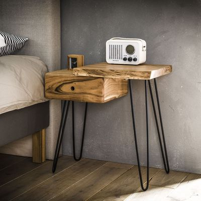 Side table/nachtkastje Ahaus-R in  massief acacia