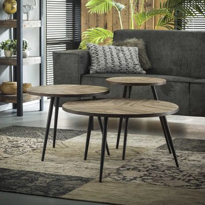 3- delige salontafelset Aach in teakhout greywash