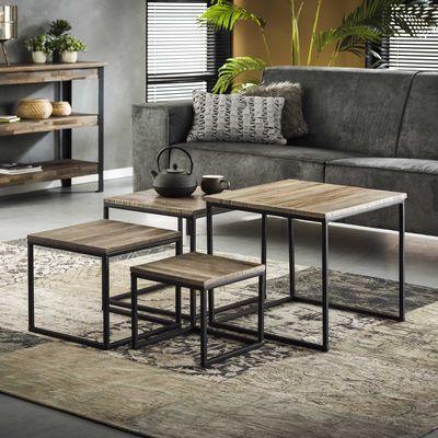 4 -delige salontafelset Aach teakhout greywash