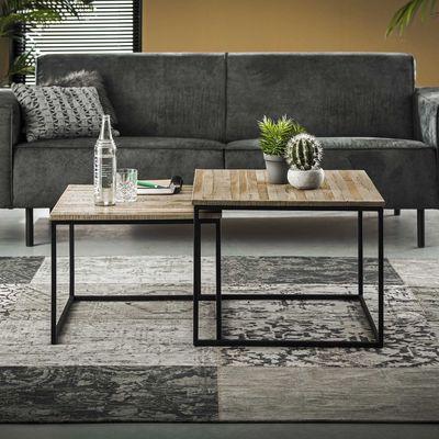 2- delige salontafelset in teakhout greywash