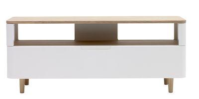TV dressoir Rodby in wit MDF met eiken bovenblad