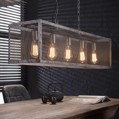 Hanglamp Alsleben raster met 5 lampen, oud zilver