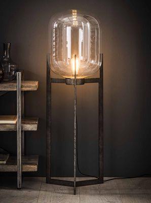 Vloerlamp Balve met glazen kap op 3-poot oud zilver