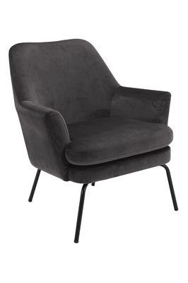 Fauteuil Forlev in grijze velours stof, zwart onderstel