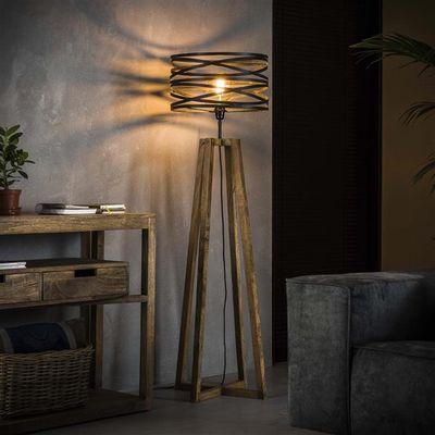 Vloerlamp Friedland met houten kruisframe