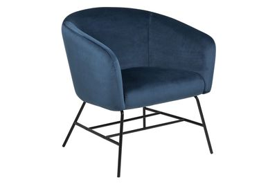 Fauteuil Endrup in blauwe velours