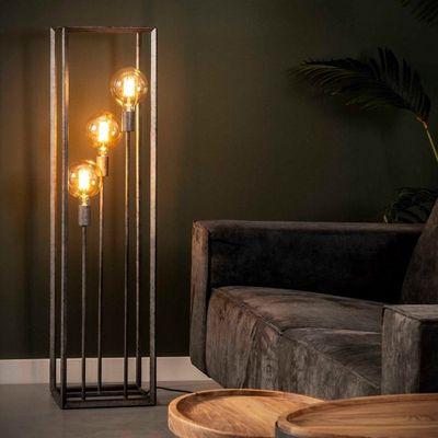 Vloerlamp Beckum met slank metalen frame in oud zilver