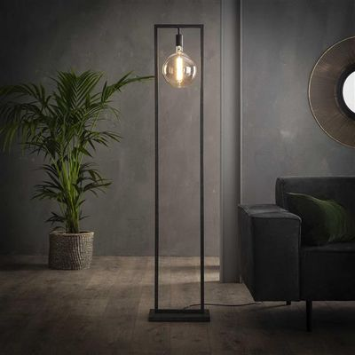 Vloerlamp Friesack in rechthoekig metalen frame