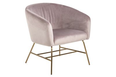 Fauteuil Endrup in rose velours met messing frame