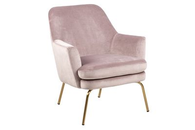 Fauteuil Forlev in rose velours stof, messing onderstel