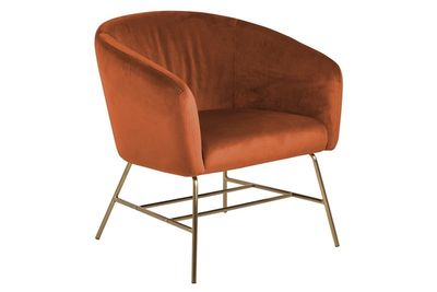 Fauteuil Endrup in oranje velours