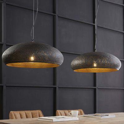 Hanglamp Arnis met 2 zwart bruine metalen kappen