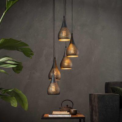 Hanglamp Baunatal met 5 zwart/bruine kappen