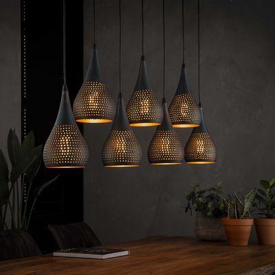 Hanglamp Arnsberg met 7 geperforeerde metalen kappen