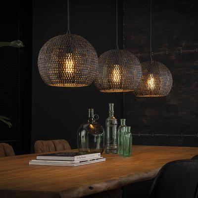Hanglamp Beerfelden met 3  ronde zwart bruine metalen kappen