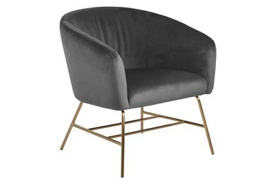 Fauteuil Endrup in grijze velours stof met messing frame